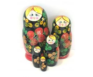 1161 - Matriochka Poupées Russes Motif Fraises Rouge et Noir