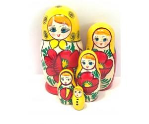 1162 - Matriochka Poupées Russes Motif Floral Rouge et Jaune