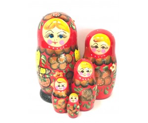 1164 - Matriochka Poupées Russes Motif Floral Rouge