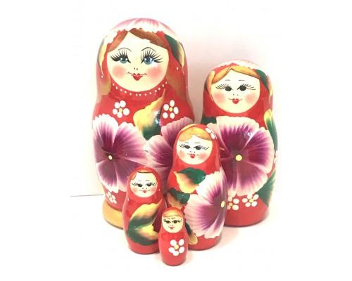 1198 - Matriochka Poupées Russes Motif Floral Rouge et Doré
