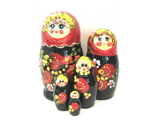 1201 - Matriochka Poupées Russes Motif Floral Rouge et Noir