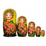 1204 - Matriochka Poupées Russes Motif Floral Jaune et Noir