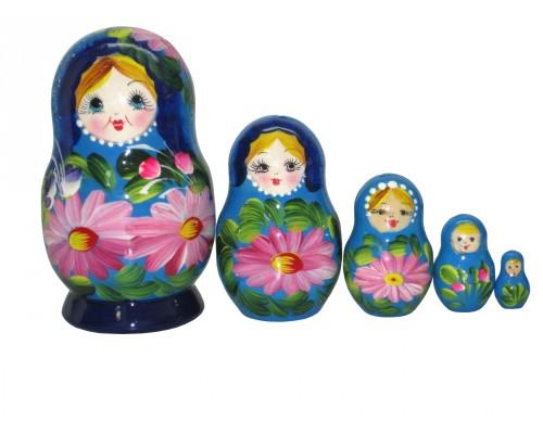 1206 - Matriochka Poupées Russes Motif Floral Bleu et Rose