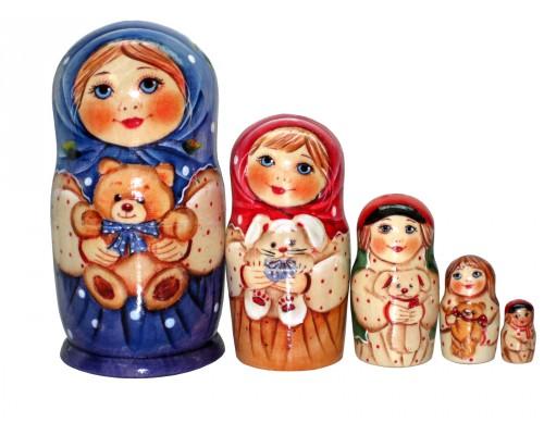 1207 - Matriochka Poupées Russes Fille avec Ourson