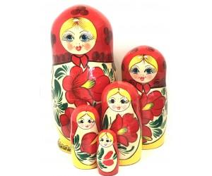 1208 - Matriochka Poupées Russes Motif Floral Rouge et Jaune
