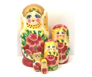 1210 - Matriochka Poupées Russes Motif Floral Rouge et Jaune