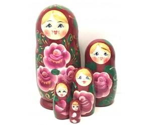 1215 - Matriochka Poupées Russes Motif Floral Rose et Bourgogne