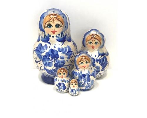 1217 - Matriochka Poupées Russes Motif Floral Blanc et Bleu