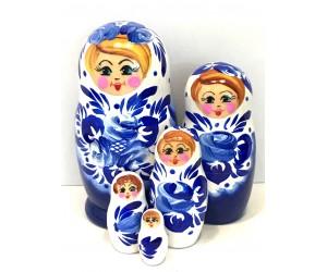 1304 - Matriochka Poupées Russes Motif Floral Blanc et Bleu