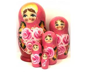 1312 - Matriochka Poupées Russes Motif Floral Rose