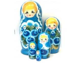 1313 - Matriochka Poupées Russes Motif Floral Turquoise
