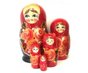 1324 - Matriochka Poupées Russes Motif Floral Rouge et Noir