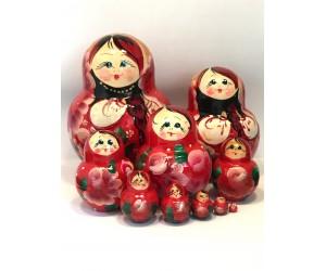 1343 - Matriochka Poupées Russes Motif Floral Rouge