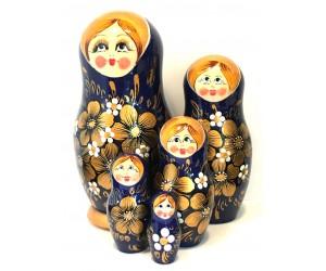 1347 - Matriochka Poupée Russe Motif Floral Bleue et Or