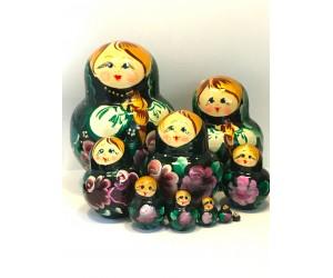 1350 - Matriochka Poupées Russes Motif Floral Vert
