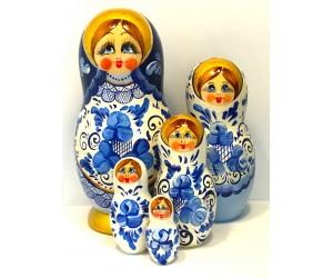 1351 - Matriochka Poupées Russes Motif Floral Blanc et Bleu