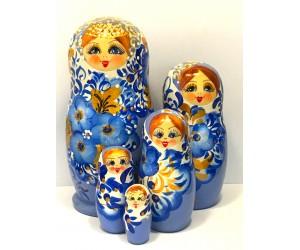 1354 - Matriochka Poupées Russes Médaillon Blanc et Bleu
