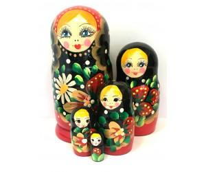 1348 - Matriochka Poupées Russes Motif Floral Rouge et Noir