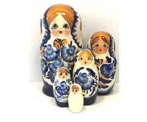 1361 - Matriochka Poupées Russes Motif Floral Blanc et Bleu