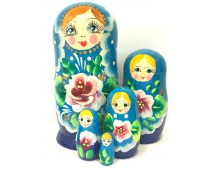 1365 - Matriochka Poupées Russes Motif Floral Turquoise et Bleu Marine