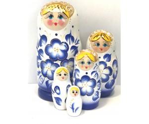 1371 - Matriochka Poupées Russes Motif Floral Blanc et Bleu