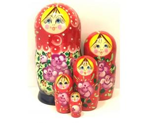 1372 - Matriochka Poupées Russes Motif Floral Rouge et Bleu