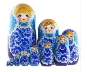 1380 - Matriochka Poupées Russes Motif Floral Bleu