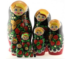 1381 - Matriochka Poupées Russes Motif Floral Rouge et Noir