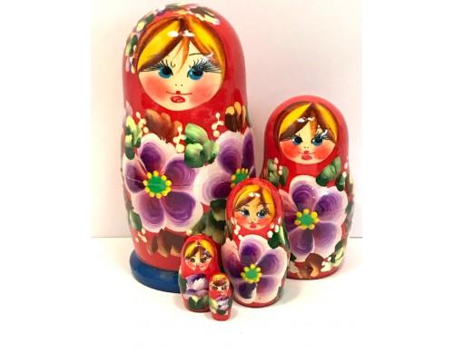 1395 - Matriochka Poupées Russes Motif Floral Rouge et Bleu