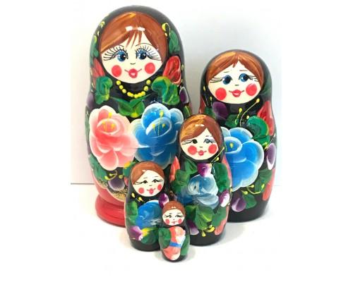 1406 - Matriochka Poupées Russes Motif Floral Rouge et Noir