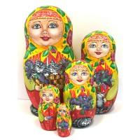 1415 - Matryoshka Russian Nesting Doll with Cats