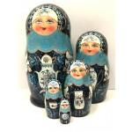 1426 - Matriochka Poupées Russes Samovar Bleu
