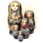 1427 - Matriochka Poupées Russes Motif Hivernal Mauve