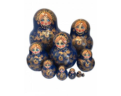 1469 - Matriochka Poupées Russes Motif Floral Bleu et Doré