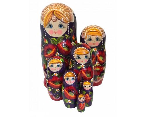 1471 - Matriochka Poupées Russes Motif Floral Rouge et Mauve