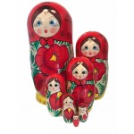 1473  - Matriochka Poupées Russes Motif Floral Rouge et Jaune