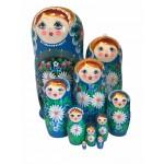 1478 - Matriochka Poupées Russes Motif Floral Bleu