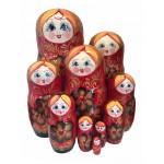 1479 - Matriochka Poupées Russes Motif Floral Rouge et Noir