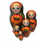1486 - Black and Red Floral Matryoshka Russian Nesting Doll