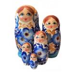 1521 - Matriochka Poupées Russes Motif Floral Bleu et Turquoise