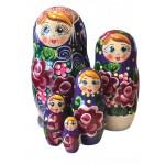 1526 - Matriochka Poupées Russes Motif Floral  Mauve