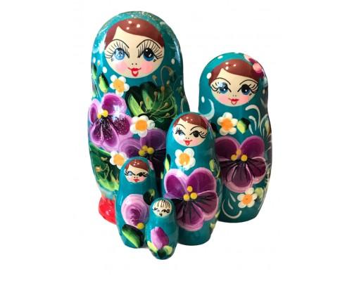 1531 - Matriochka Poupées Russes Motif Floral Rouge et Turquoise