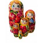 1542  - Matriochka Poupées Russes Motif Floral Rouge et Jaune