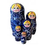 1544 - Matriochka Poupées Russes Motif Floral Bleu