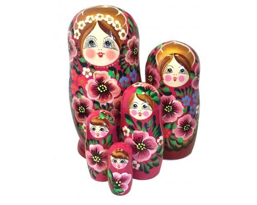 1575 - Matriochka Poupées Russes Motif Floral Rouge et Rose