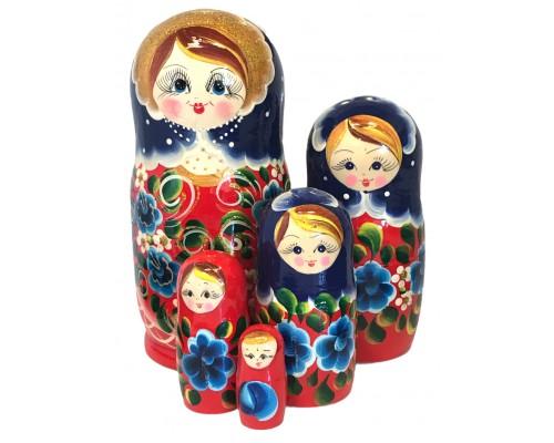 1578 - Matriochka Poupées Russes Motif Floral Rouge et Bleu