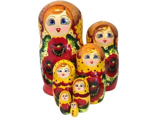 1579  - Matriochka Poupées Russes Motif Floral Rouge et Jaune