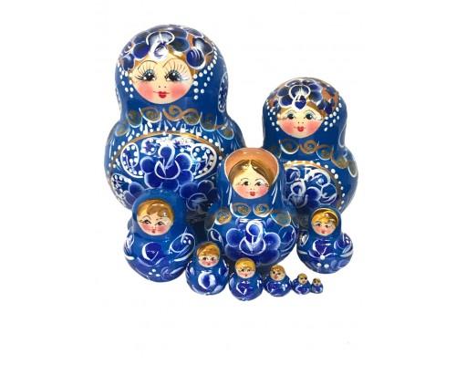 1582 - Matriochka Poupées Russes Motif Floral Bleu