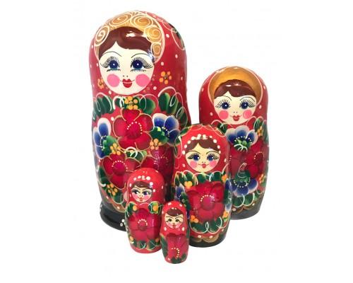1583 - Matriochka Poupées Russes Motif Floral Rouge et Noir