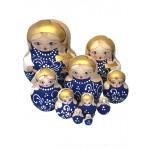 1591 - Blue Woodburned Matryoshka Russian Nesting Dolls
